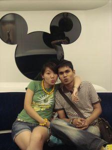 Taking the Disney train in HK July 07